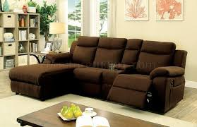 Reclinable Sectional Sofas Kamryn Reclining Sectional Sofa Cm6771br In Brown Fabric
