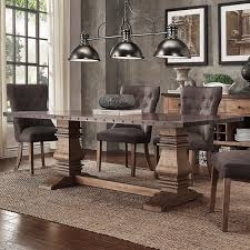 voyager wood and zinc balustrade 84 inch rectangle dining table by