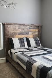 How To Make A Platform Bed Frame With Pallets by Diy Planked Headboard Shanty 2 Chic