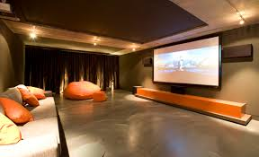 wonderful home theater design with interesting cushions on simple