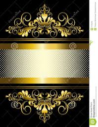 black and gold ribbon gold ornament and gold stripes with ribbon stock illustration
