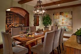 wine cellar with dining room home design and home interior photo