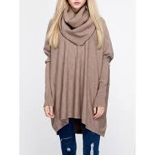wholesale oversized turtleneck tunic long sweater one size camel