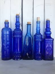 vintage cobalt blue glass bottles blue supply by mellafina 89 00