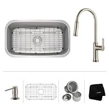 home depot kitchen sinks and faucets kraus all in one undermount stainless steel 32 in single bowl