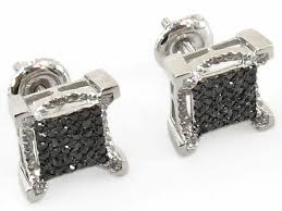 10k earrings 10k white gold black diamond square stud earrings dz designs nyc