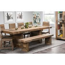 farm tables with benches rustic farmhouse tables you ll love wayfair