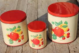 metal kitchen canisters century vintage metal kitchen canisters w bright fruit print