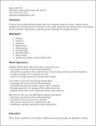 Sample Resume For Customer Service Representative In Bank by Professional Financial Service Representative Templates To