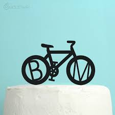 bicycle cake topper personalized wedding cake topper bicycle monogram initials cake