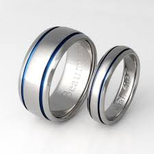 titanium wedding ring sets matching blue titanium ring set stb10 titanium rings studio