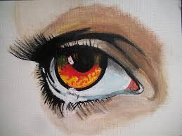 orange eye teardrop painting by teresa hales