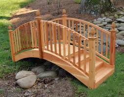 red cedar arched step bridge
