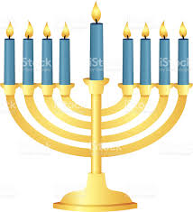 menorah candle menorah with all candles lit stock vector 153029860