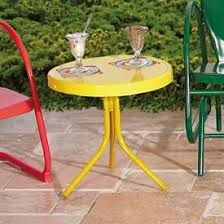 Side Patio Table Retro Metal Lawn Chairs Retro Metal Gliders Retro Metal Tables