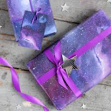 purple gift wrap galaxy print wrapping paper space gift wrap constellation