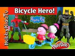 peppa pig bicycle toy batman spiderman mystery bags imaginext