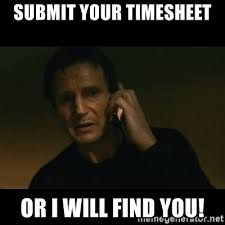 Submit Meme - submit your timesheet or i will find you liam neeson taken