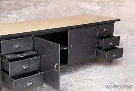 cuisine en metal comptoir grand ilôt central style indus métal bois gentlemen