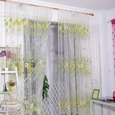 Sunflower Valance Curtains Sunflower Sheer Curtain Tulle Window Treatment Voile Drape Valance