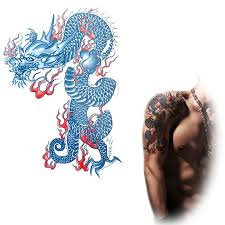 blue dragon tattoo design stickers male dragon totem big sticker