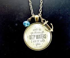 christian necklace when you go through waters isaiah 43 2 christian necklace 24