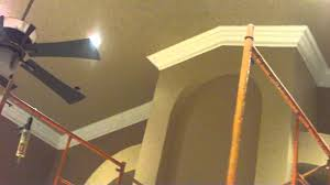 Angled Ceiling Fan by Vaulted Ceiling Crown Molding Job Youtube