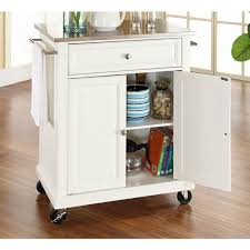 steel top kitchen island crosley furniture kf30022ewh stainless steel top portable kitchen