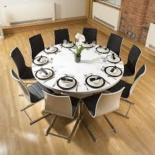 Extra Large Round White Corian Top Dining Table  Dining Chairs - Corian kitchen table