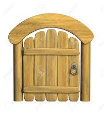 Wooden Door Closed Ancient Wooden Door Object Over White Stock Photo Picture