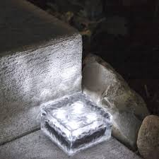 solar led paver lights 4 x 4 frosted glass solar brick paver light with 4 leds cool
