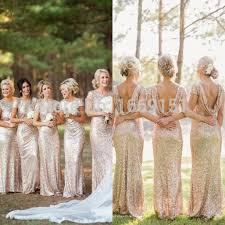 Free Shipping Mermaid Long Rose Gold Sequined Bridesmaid Dresses