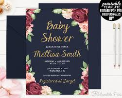 navy baby shower invitation template printable baby