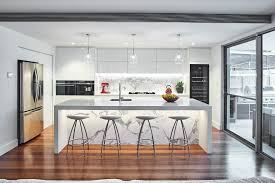sydney contemporary kitchen cabinets with large sliding glass door