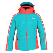 dare2b beguile ski jacket kids aqua blue fiery coral red