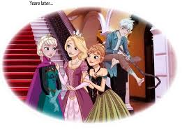 rapunzel and her cousins anna and elsa with jack frost disney