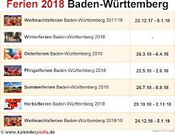 Ferienkalender 2018 Bw Ferien Baden Württemberg 2018 übersicht Der Ferientermine