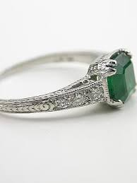 antique emerald engagement rings trulagreen com