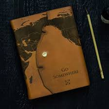 Leather Map Leather Travel Journal With Engraved World Map By The Black Canvas