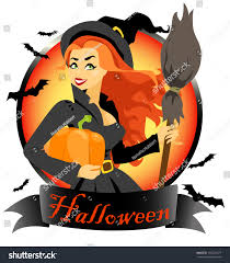 beautiful young red hair witch pumpkin stock vector 109724477