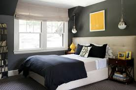 bedroom casual grey black and blue bedroom decoration using dark