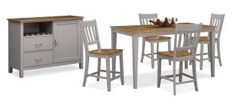 Value City Dining Room Furniture The Nantucket Counter Height Dining Collection Oak And Gray