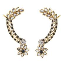 ear cuffs india buy kriaa kundan black austrian floral gold finish ear cuff