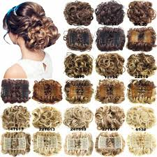 Synthetic Hair Extension by Women Wave Curly Easy Clip In Big Hair Bun Chignon With Two