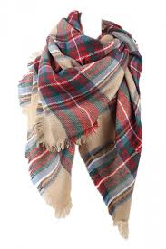 womens pretty warm winter colorful plaid scarf pink