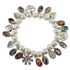 saints bracelet made pearl bracelet w saints medals the catholic company