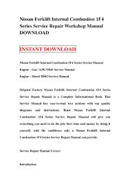 nissan forklift internal combustion 1 f4 series service repair worksh u2026