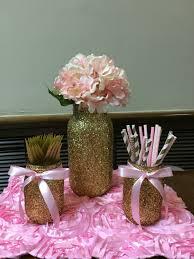 gold glitter mason jars pink u0026 gold glitter u0026 pearls baby shower