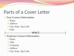 parts of cover letter creating a resume cover letter ppt