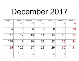 december calendar 2017 with holidays uk canada usa india free